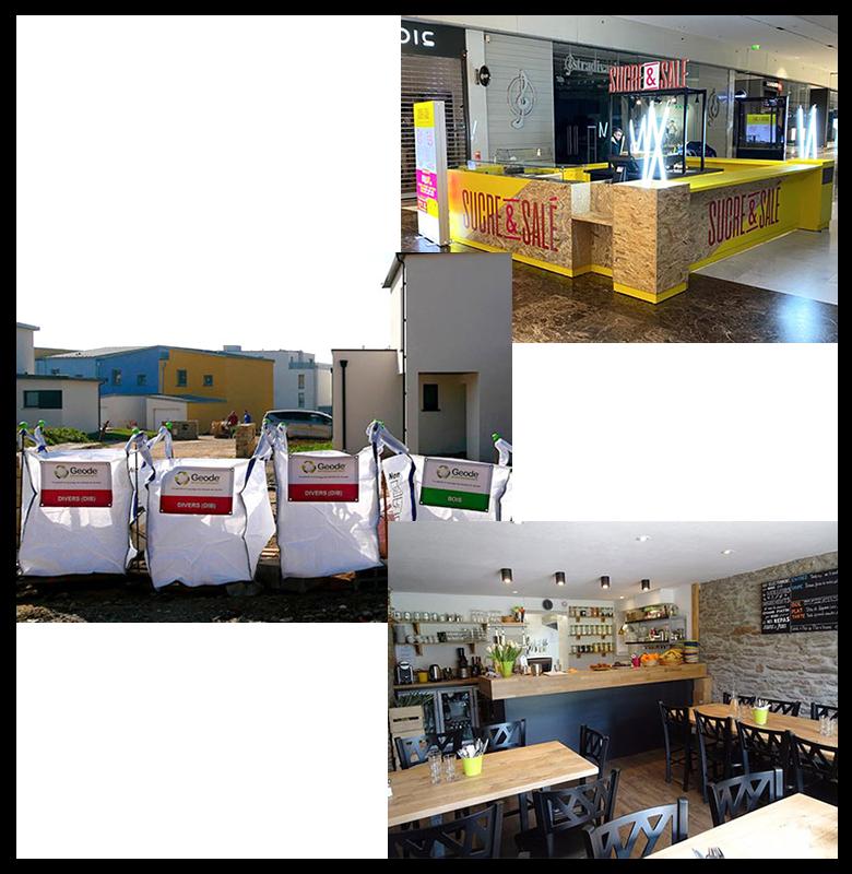 3 photos : un shop dans un centre commercial, des sacs installés dans un lotissement et l'intérieur d'un restaurant.
