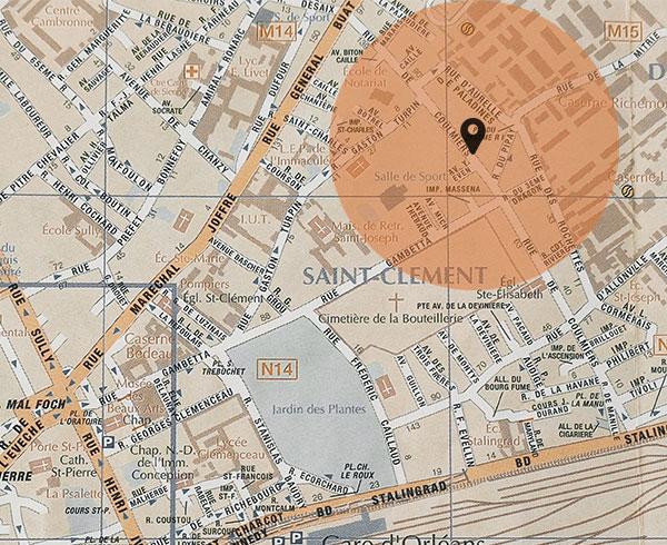 Carte de Nantes avec zone de chalandise
